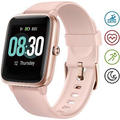 UMIDIGI Uwatch3 Smartwatch Mujer Reloj Inteligent 5ATM Impermeable Smartwatch con Cronómetro Pulsera Actividad para Deporte de Fitness con Podómetro para Niños iOS y Android (Rosa)