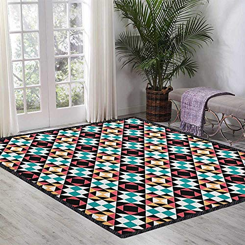Geometric Polyester Fiber Area Rugs,Soft Colored Squares Rhombuses and Triangles Pattern Cubism Inspired Illustration for Children Play Dormitory Multicolor 55