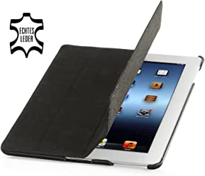 StilGut Couverture, custodia in vera pelle per il Apple iPad 3 & iPad 4 con funzione di supporto e smart cover, nero vintage