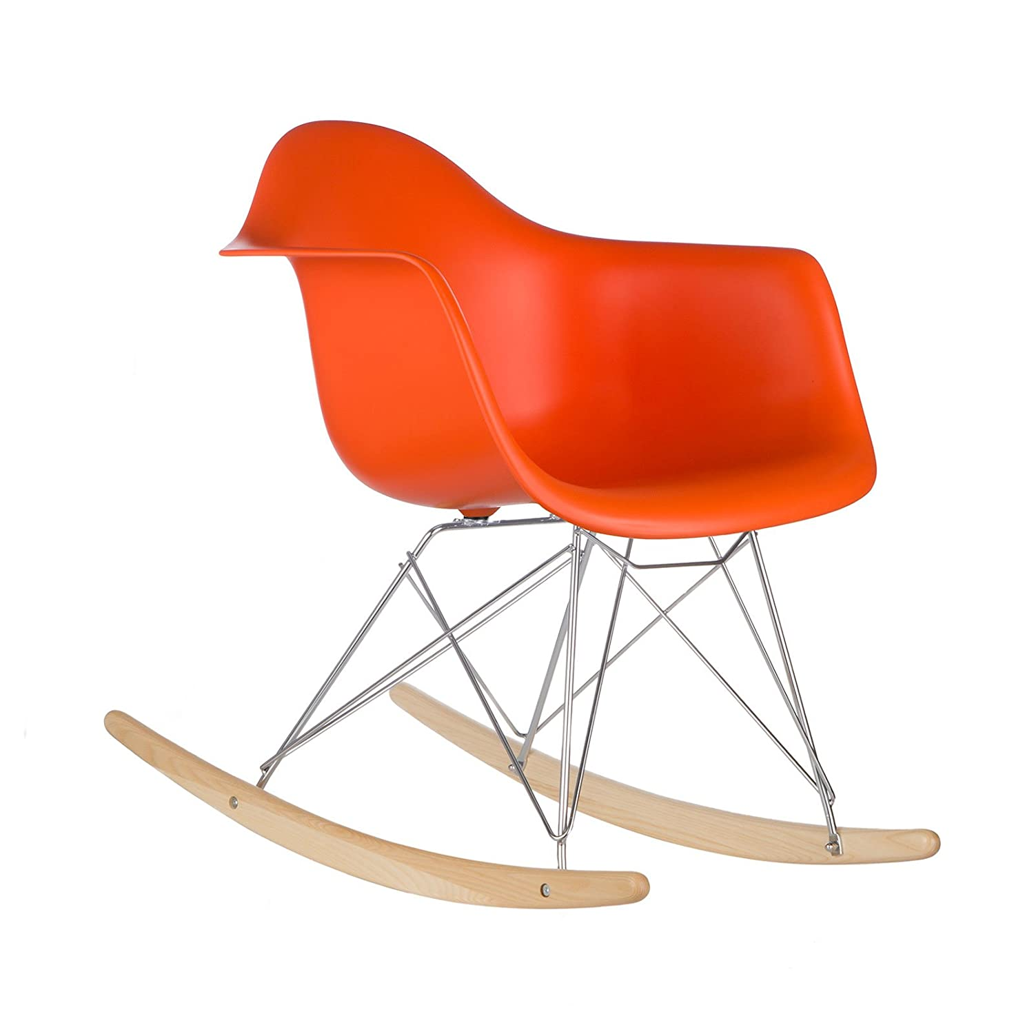 Amazon Poly and Bark Eames Style RAR Rocking Chair Orange