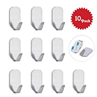 Self Adhesive Hooks, Beeway® Pack 10 Stainless Steel 3M Adhesive Wall Hanger for Kitchen Bathroom Office Closet - Waterproof, No Drill Glue Needed