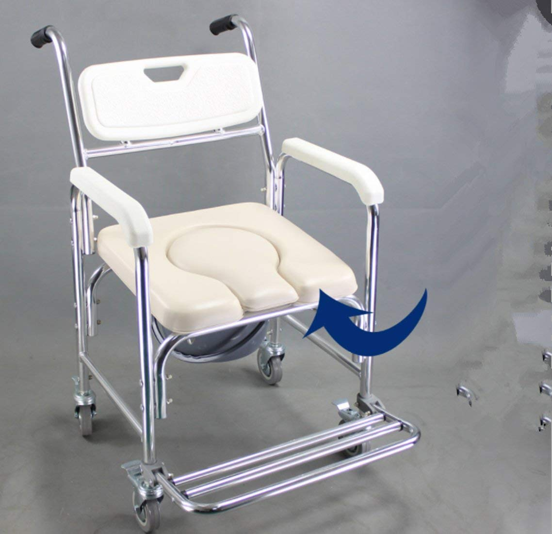 DDPP Bathroom with armrests bathroom shower chair with roller shower chair (4 wheel brakes), toilet seat back and seat,1