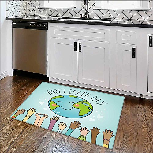 Dual Surface Non Slip Rug Pad postcard with cartoon earth globe and people of nationalities vector for Living Room Dining Room Family W30