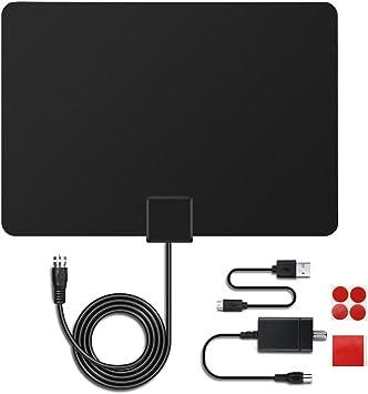 MECO Antena de Interior TV Aerial Ultra-Thin Amplified 50 Miles Range Antena Digital HDTV con Amplificador de Refuerzo de Señal /16.5ft Cable/TDT Digital, Señales de TV Analógica y Ventana Aerial TV: Amazon.es: