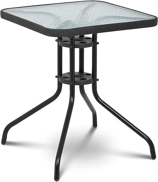 Uniprodo Mesa De Jardín Terraza Balcón Uni_Table_02 (Altura: 70 cm, 60x60 cm, Lámina de Vidrio Templado, Color Negro): Amazon.es: Jardín