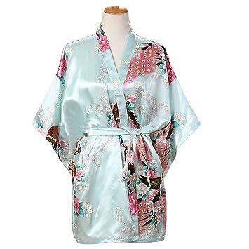 Azul Claro - Mujer Pijamas de Tela de Seda imitada Albornoz Corto Bata de Kimono Pavo Real/Flores: Amazon.es: Hogar