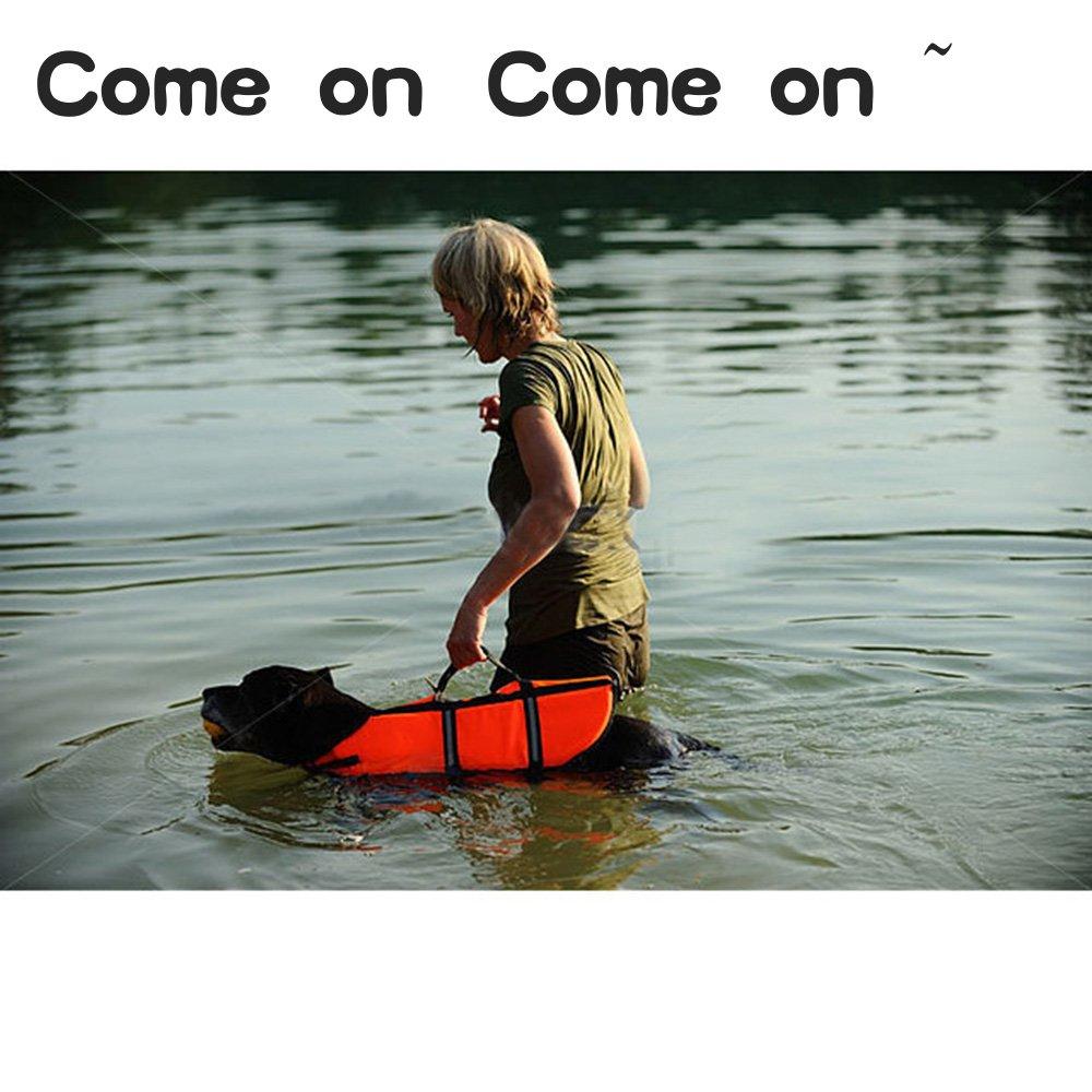 SILD Pet Life Jacket Size Adjustable Dog Lifesaver Safety Reflective Vest Pet Life Preserver Dog Saver Life Vest Coat for Swimming,Surfing,Boating, Hunting (XL, Orange) by SILD (Image #7)