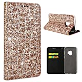 Cheap Samsung Galaxy S9 Plus Case, Galaxy S9 Plus Wallet Case, Crosspace S9 Plus Flip Case Bling Glitter PU Leather Magnetic Buckle Book Stand Protective Cover with Card Slots for Samsung S9 Plus-Rose Gold