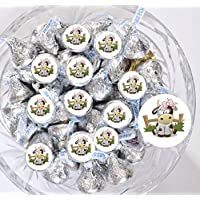 Set of 324 Cow Party Favor Labels, Farm Birthday Supplies, Farm Stickers for Hershey Kisses, Cow Party Decoration