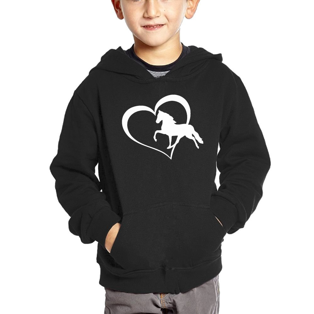 Small Hoodie Heart Horse Boys Casual Soft Comfortable Sweatshirts Pocket Hoodies