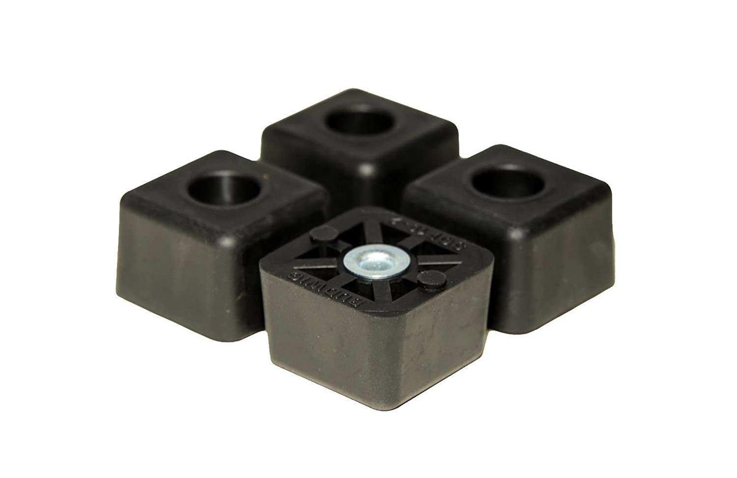 4 Cube Square Rubber Feet Bumpers - .875 H X 1.375 W - Made in USA Heavy Duty Non Marking for Furniture, Tables, Chairs, Desks, Benches, Sofas, Chests, Other Large Items.