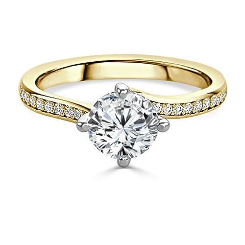 1,20 Ct redondo boda y anillo de compromiso de diamantes Moissanite 14 K oro