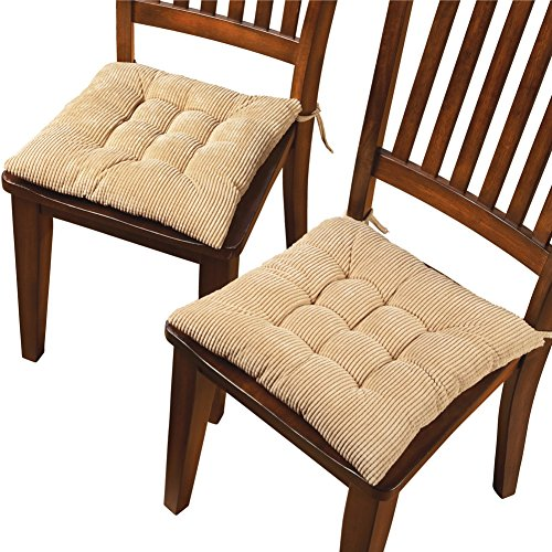 Corduroy Chair Cushion Pads - Set of 2, Beige