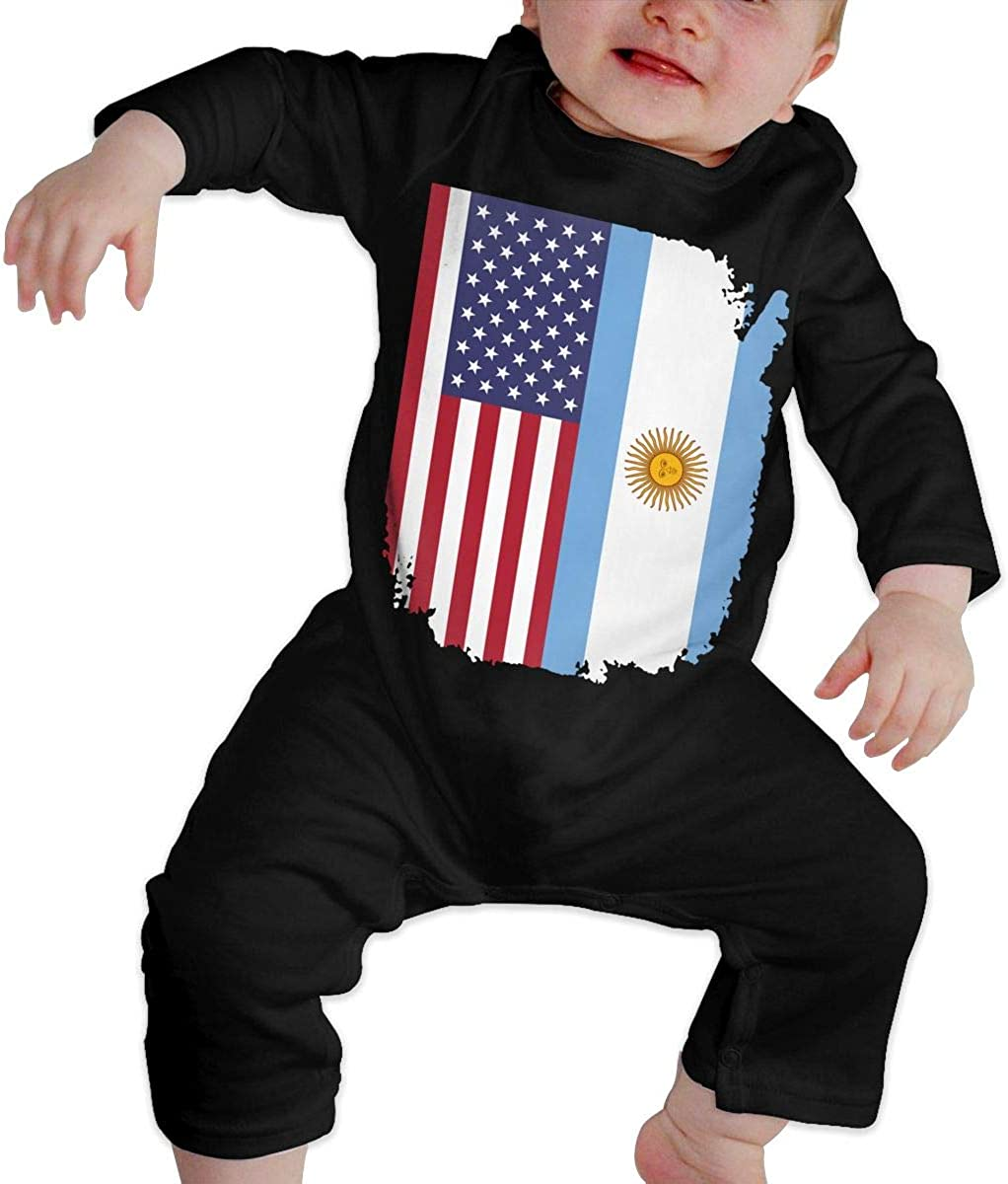 YELTY6F American Argentina Flag Printed Newborn Baby Boy Girl Jumpsuit Long Sleeve Outfits Black