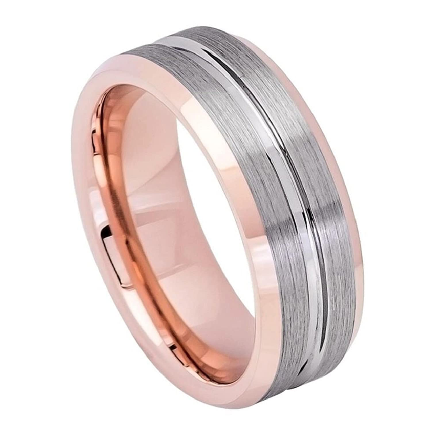 Tungsten Carbide 8mm Rose Gold IP Plated Inside Gun Metal Grooved ...