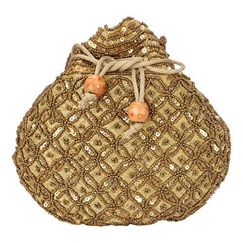 - Indian sequence Potli Bag/wedding purse/jewelery purse for girls & women (Base Color- Golden)