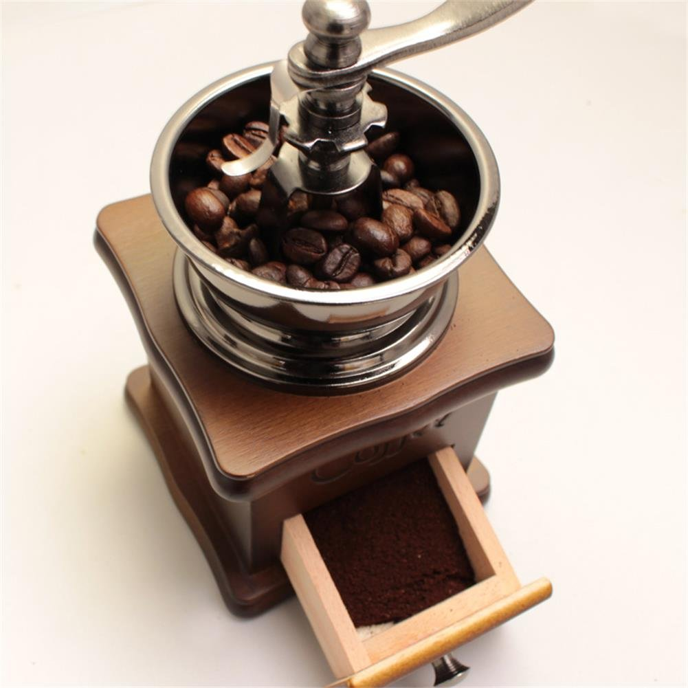 Vintage Mini Manual Coffeemaker Mill Wood Stand Metal Bowl Antique Hand Coffee Bean Grinder, Small,with Coffee Scoop Spoon by Kederastyle (Image #3)