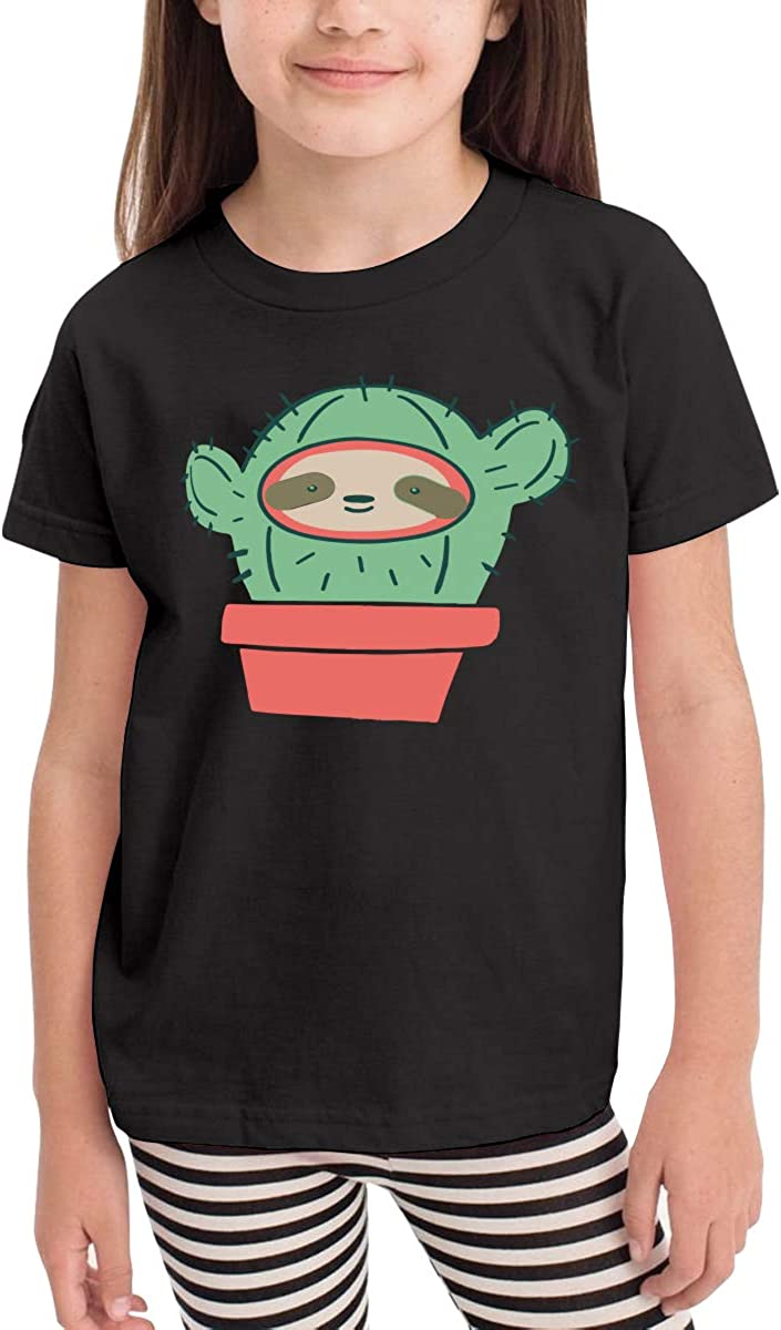 Kids T-Shirt Tops Black Sloth Face Cactus Unisex Youths Short Sleeve T-Shirt