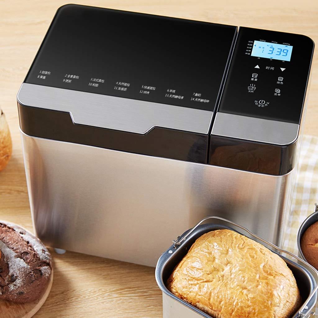 Panificadoras Máquina de Pan, máquina de Pan de Acero Inoxidable, Puede Hacer su Propio Pan, máquina de Amasado multifunción para el hogar, ...
