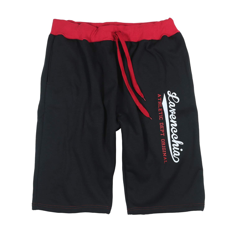 Jogging-Bermuda nero/rosso di Lavecchia taglie extra large 4XL - 8XL