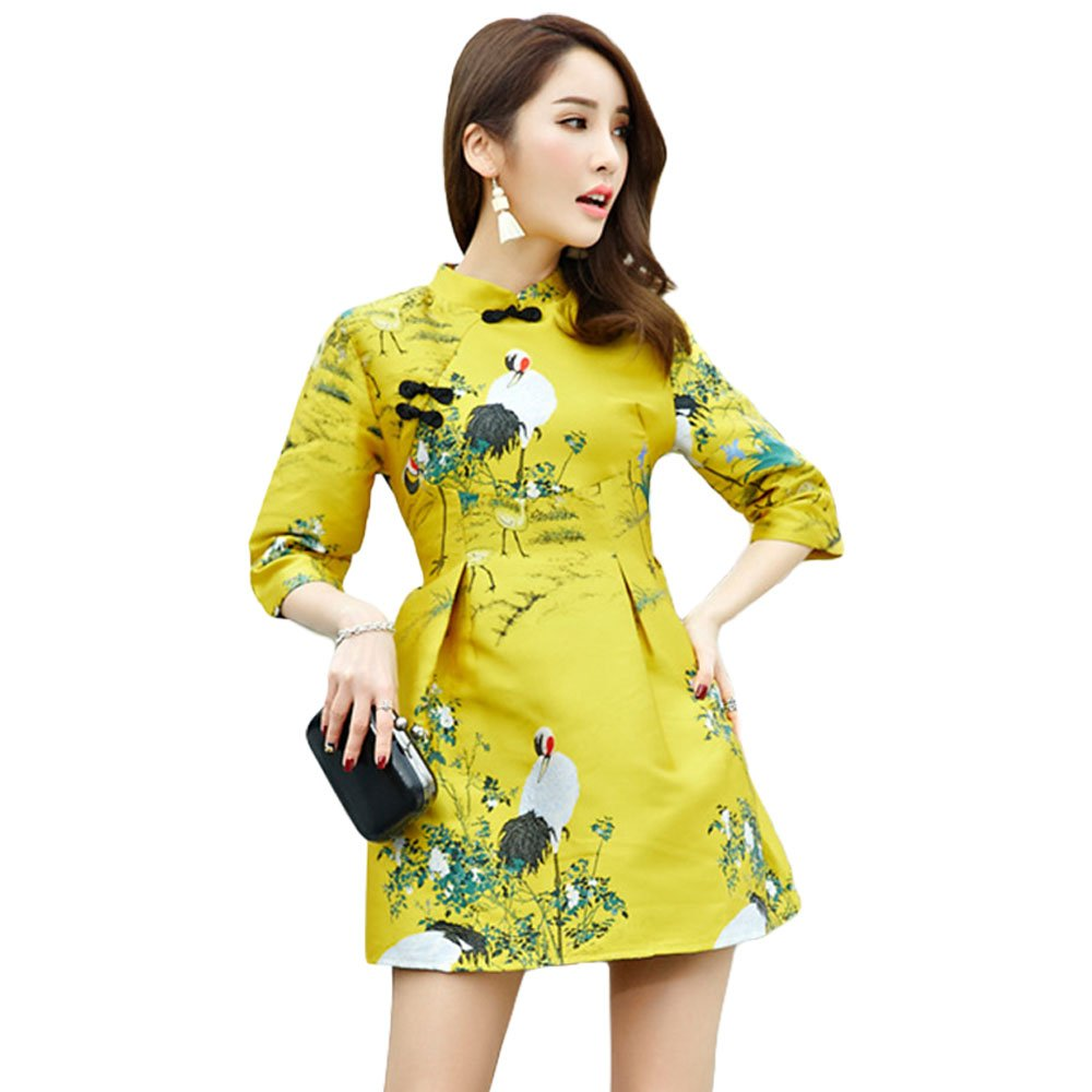 ZooBoo Chinese Cheongsam Blouse Dress - Crown Qipao Tang Suit Traditional Wedding Evening Outfit Clothing Pencil Costume(Asian S, Yellow)
