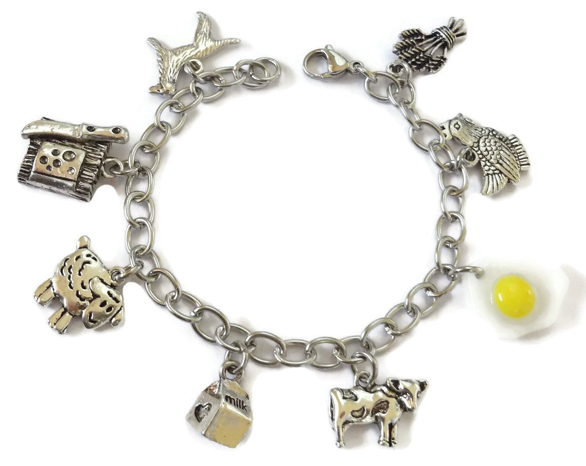 Farm Stainless Steel Charm Bracelet - farm animals Jewelry with hen, sheep, cow charms