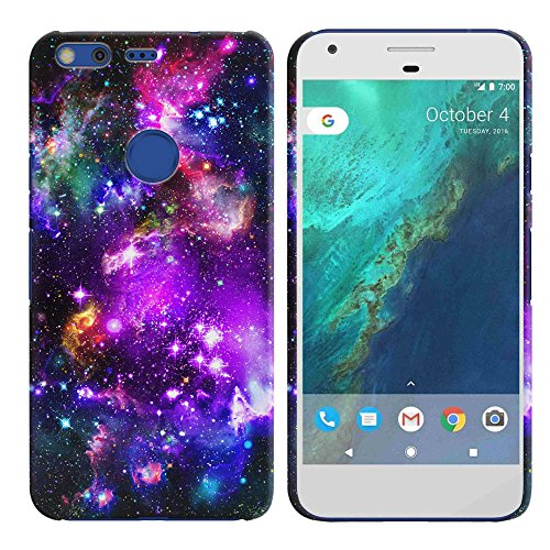 FINCIBO Google Pixel 2016 Case, Back Cover Hard Plastic Protector Case Stylish Design Google Pixel 5 inch HTC 2016 - Purple Marvel Nebula Galaxy (Hard Plastic Design Cover)