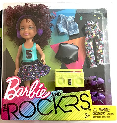 (Magenta Curly Haired Chelsea Doll, 5.5 inches tall with Purple Headphones, Lime Colored Boombox and Fashion Accessories Giftset,)