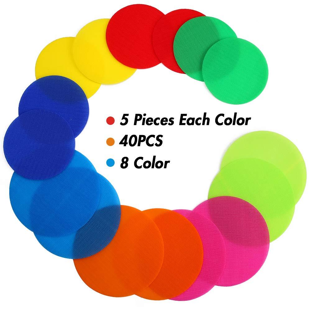 Koogel 40pcs Carpet Markers,2Size Carpet Spots Carpet Markers Kids Preschool Kindergarten Teachers Classroom Dots for Floor