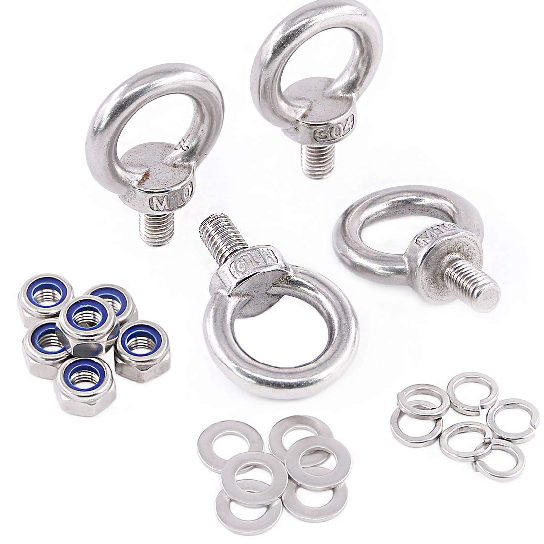 Glarks 22Pcs M10 Heavy Duty Screw Bolt, 304 Stainless Steel Male Thread Machinery Shoulder Lifting Ring Eye Bolt with Lock Nuts/Lock Washers/Flat Washers Set