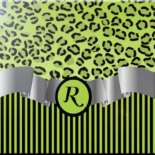 Rikki Knight 8 x 8 Letter R Lime Green Leopard Print Stripes Monogram Design Ceramic Art Tile