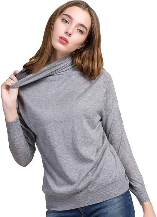QJKai Camisa de Fondo de otoño e Invierno de Seda de Mujer más Terciopelo suéter de Cuello Alto Suéter de Manga Larga Delgado: Amazon.es: Jardín