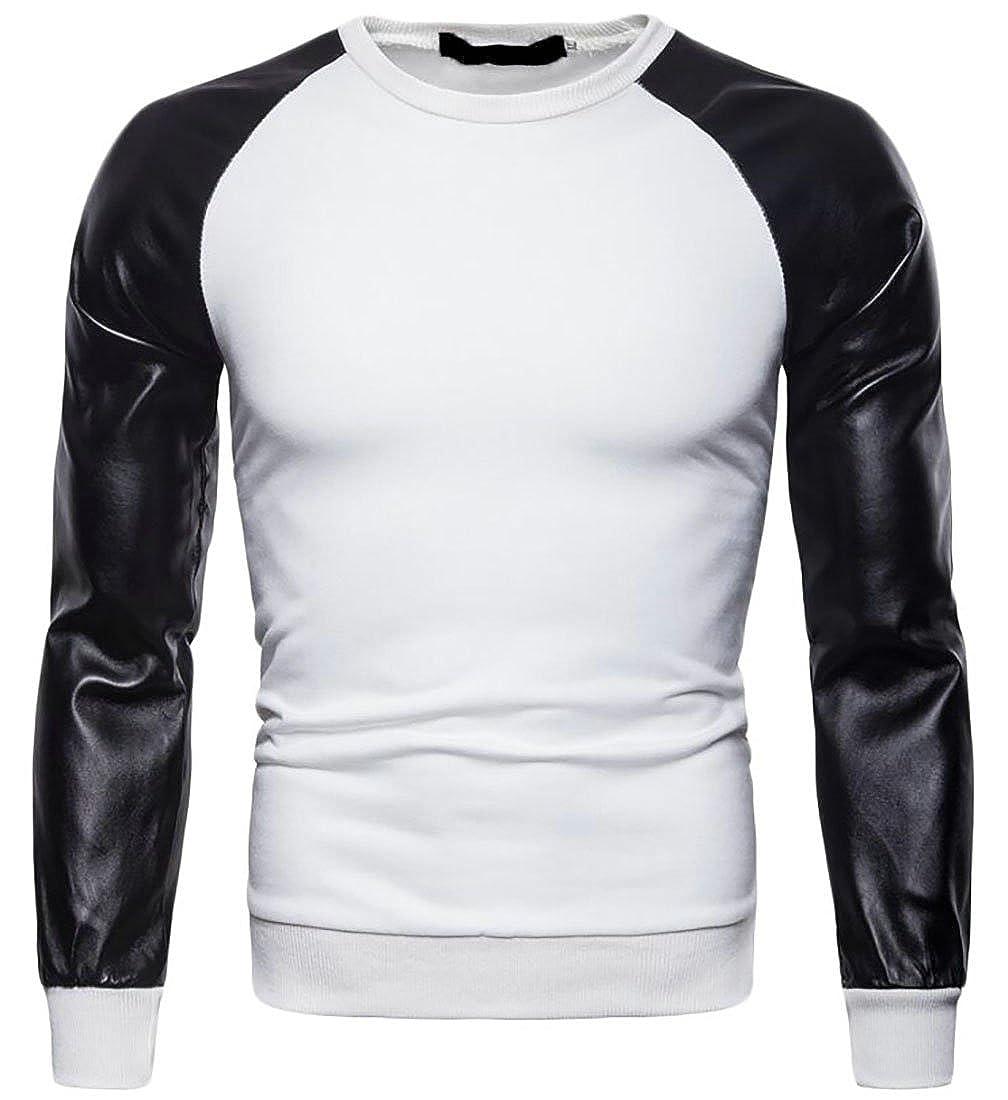 Domple Men Pu Patchwork Long Sleeve Crewneck Fashion Pullover Sweatshirt