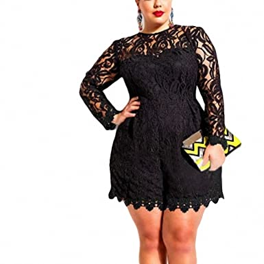 f04504d51200 New Sexy Lace Jumpsuit Women Plus Size Long Sleeve Lace Romper Sexy Jumpsuit  Macacao Feminino Overalls