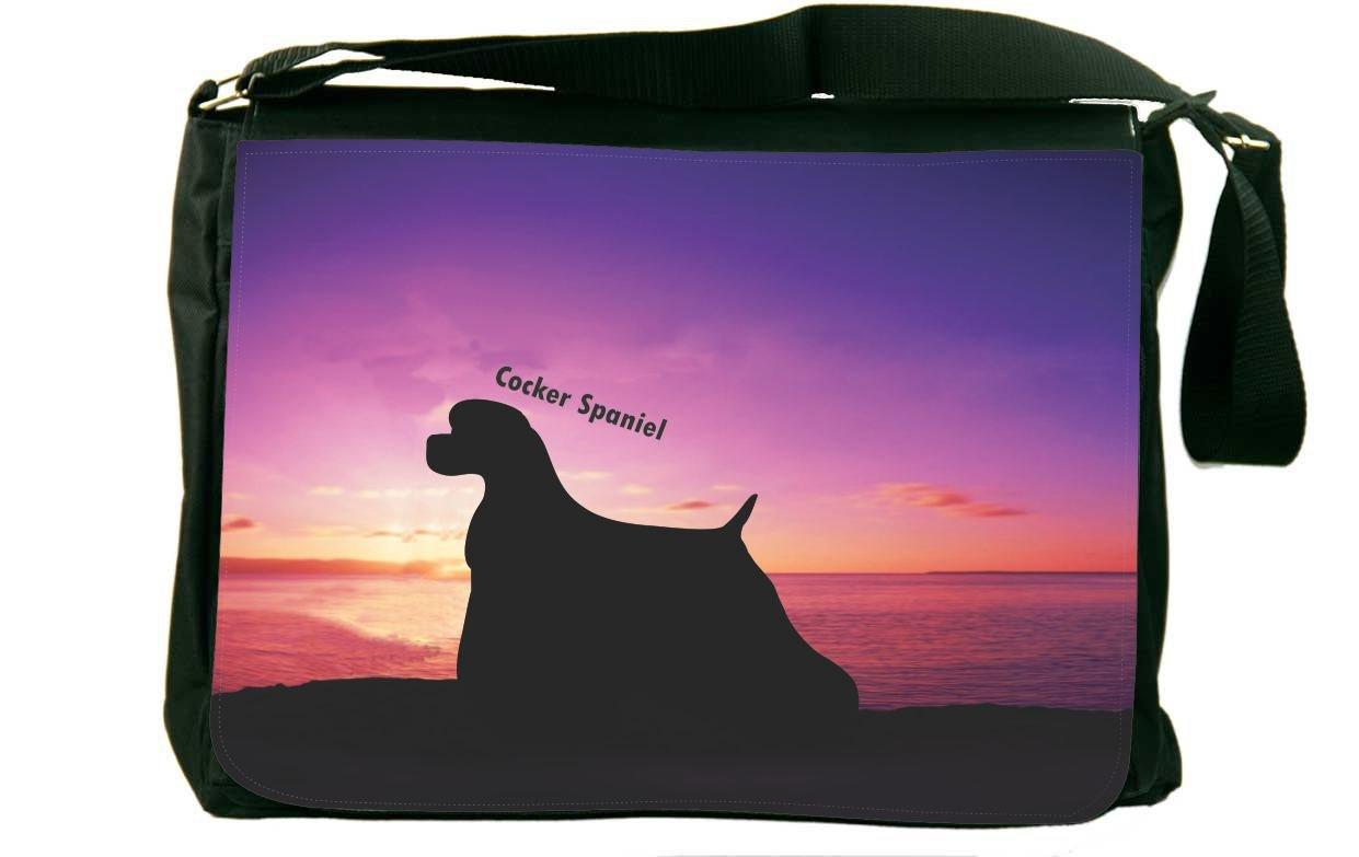 Rikki Knight Cocker Spaniel Dog At Sunsetメッセンジャーバッグスクールバッグ B01IJARYY2