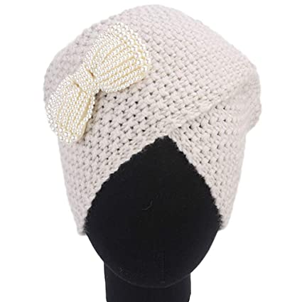 c17d3afa5ee HANANei Clearance Sale Women Ladies Bow Winter Knitting Hat Turban Brim Hat  Cap Pile Cap (