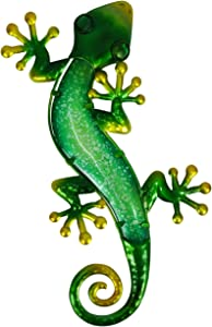 Liffy Green Metal Lizard Garden Wall Art for Home and Outside Fence Hanging Statues Sculptures Decoration