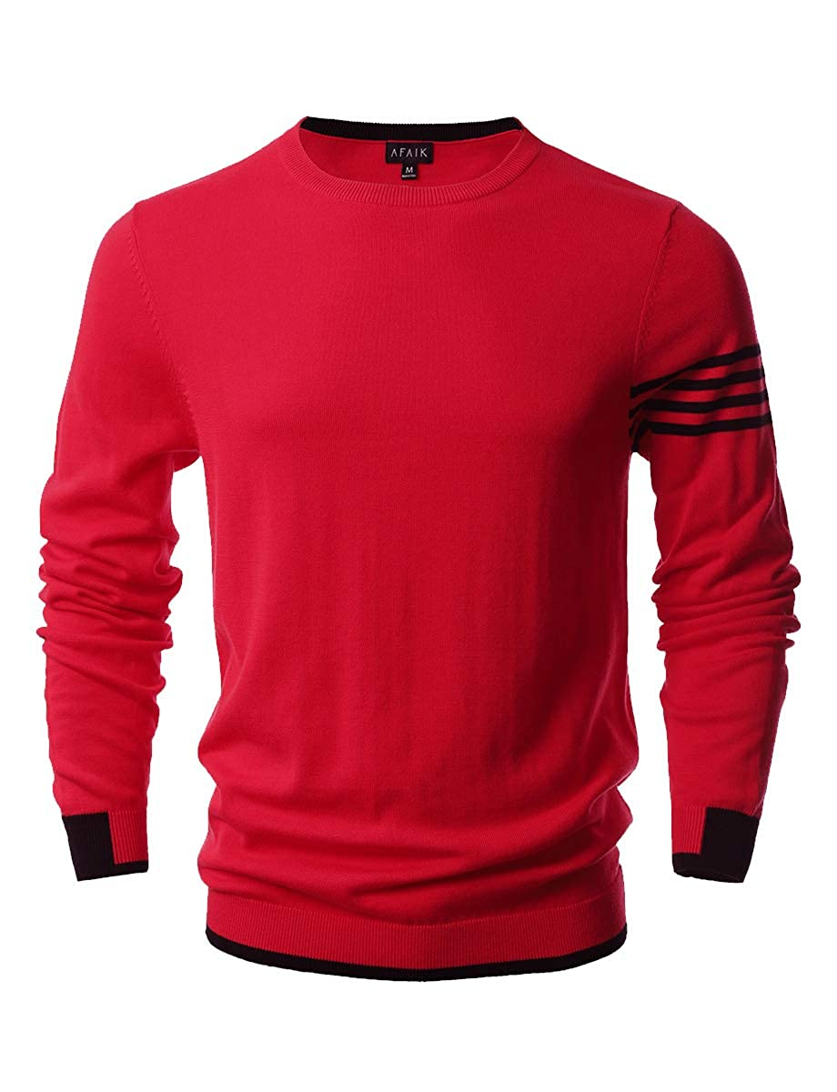 AFAIK As Far As I Know Mens Crew Neck Pullover Cotton Knitted Long Sleeve Casual Sweater