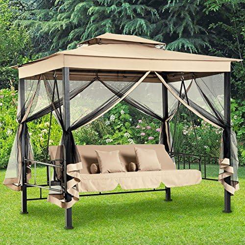BAKAJI cenador Parasol de jardín con balancín-Cama para 3 Personas ...
