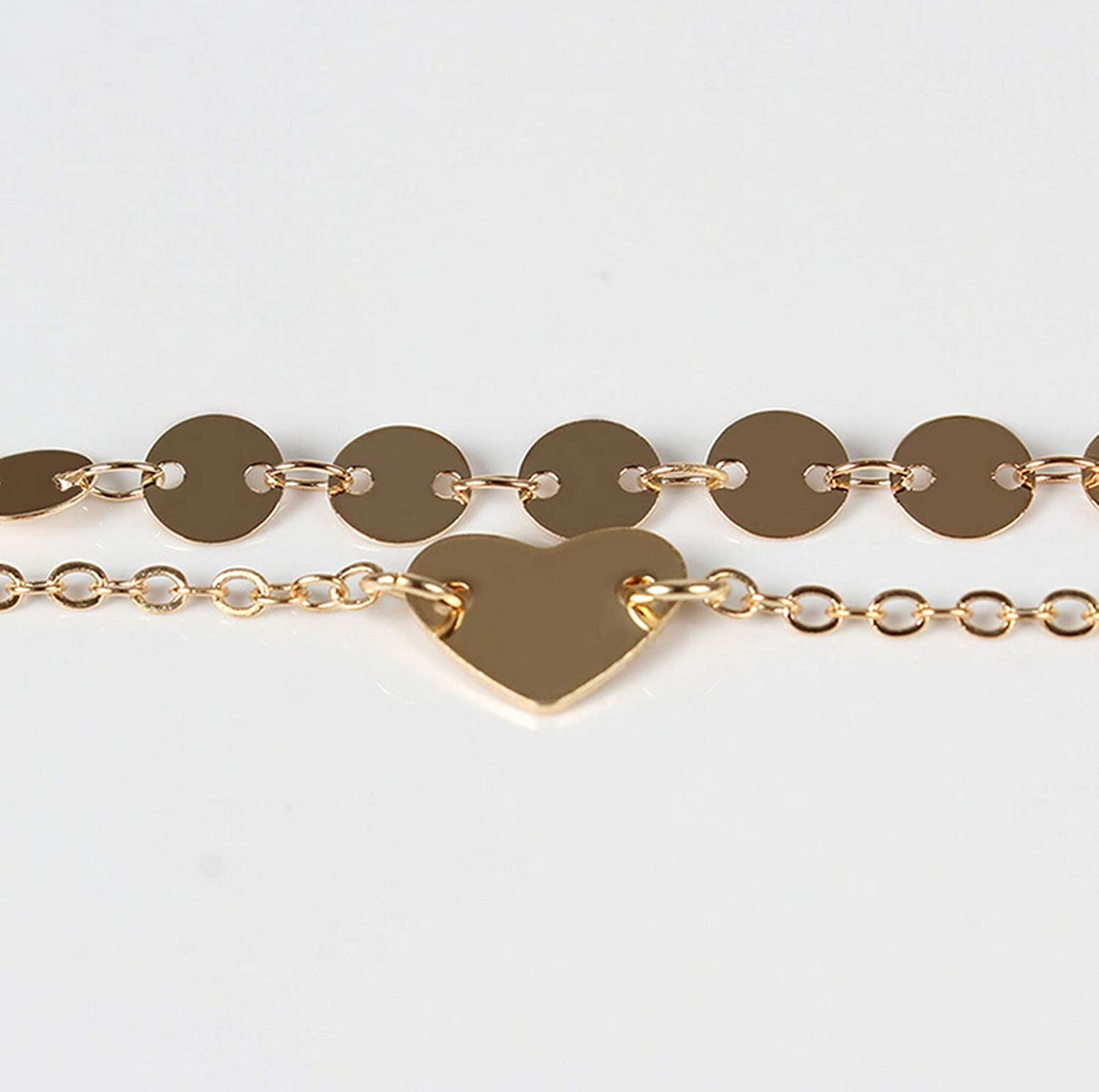 AMDXD Anklet Women Simple Gold Plated Double Layer Chain Heart Anklets Chain Summer Jewelry Teens Gold 21CM