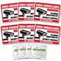 "(6 PACK) Video Surveillance Warning Sign Stickers + (4 PACK) Alcohol Prep Wipes - Weatherproof / UV Protected 3.75"" x 2.75"" from AutoBoxClub"