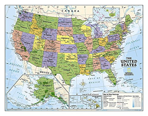 National Geographic: Kids Political USA Education: Grades 4-12 Wall Map - Laminated (51 x 40 inches) (National Geographic Reference Map)