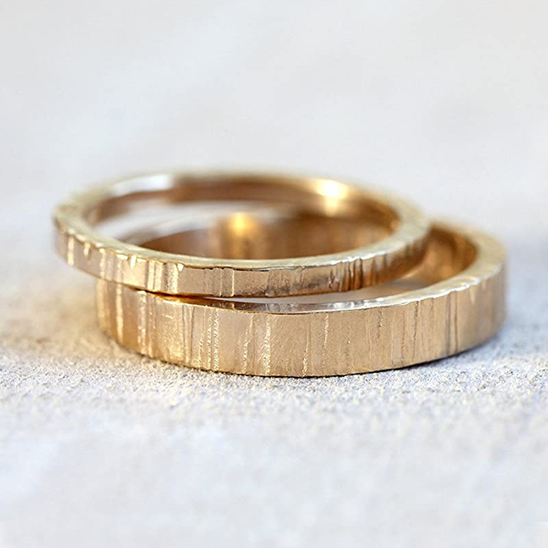 Initial minimal tree bark durable ring with engraved rhombus made in sterling silver or 14k solid gold for your friend