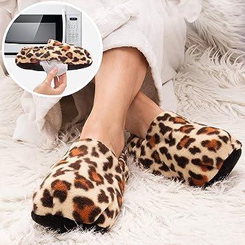 InnovaGoods IG114444 - Zapatillas de casa calentables en microondas, color leopardo