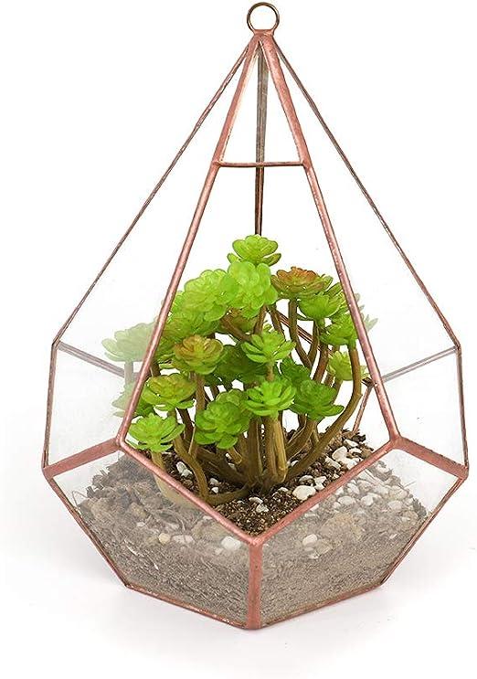 The Fellie Glass Flower Pot Handmade Pentagon Ball Shape Open Geometric Terrarium Football Shape Garden Display Indoor Outdoor Table Top Vase Centerpiece Planter Large for Succulent 17x17x15cm, Gold