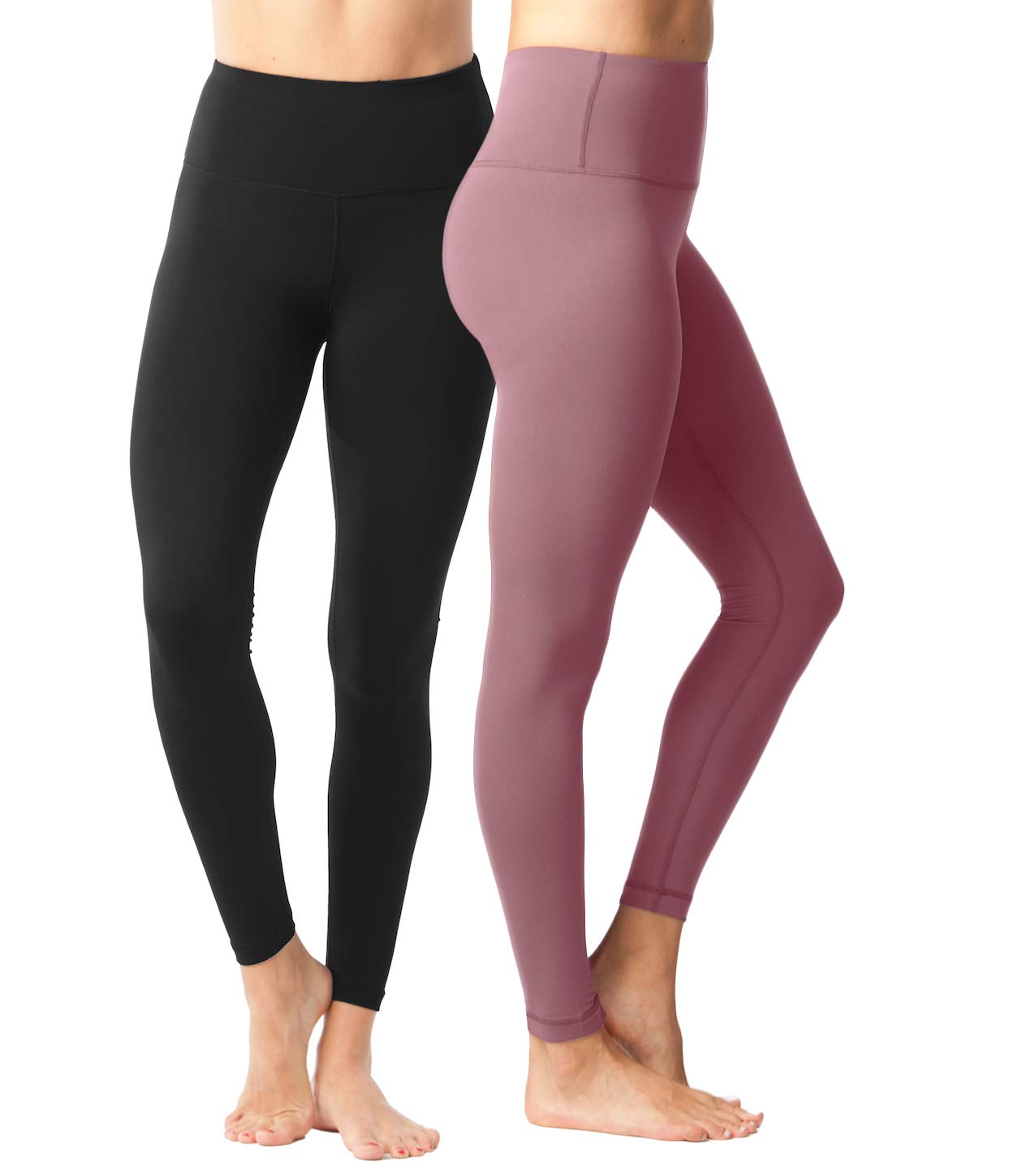 Yogalicious High Waist Ultra Soft Lightweight Leggings - High Rise Yoga Pants - 2 Pack - Black and Pink Cinnamon - XS