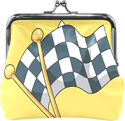 LALATOP Racing Flags Background Womens Coin Pouch Purse wallet Card Holder Clutch Handbag