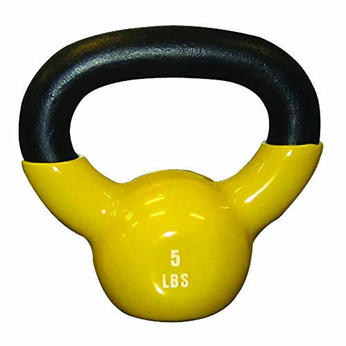 Cando 10-3191 Yellow Kettle Bell, 5 lbs Weight