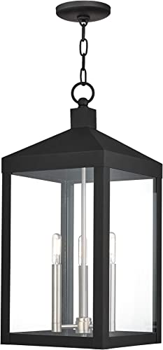 Livex Lighting 20587-04 Black Nyack 3 Light Outdoor Pendant Lantern