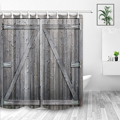 NYMB Farm House Decor, Rustic Gray Barn Wood Door, Polyester Fabric Waterproof Country Wooden Shower Curtain, Bathroom Accessories Shower Curtains, Hooks Included, 70X70in